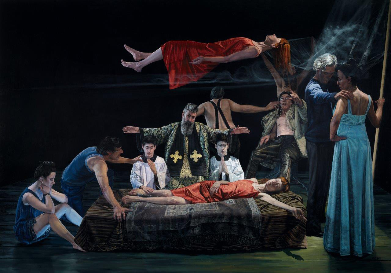 Aris Kalaizis, Die Schwebende 2018, Öl auf Leinwand, 210 x 300 cm